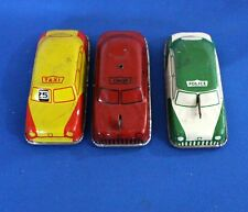 LOT OF 3 VINTAGE ARGO TIN METAL TOY CARS FIRE CHIEF, POLICE, AND TAXI