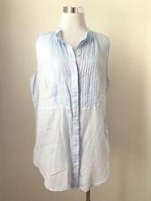 H&M Top Long Light Blue Round Neck Sleeveless Pintuck Yoke Blouse Sz 14 XL