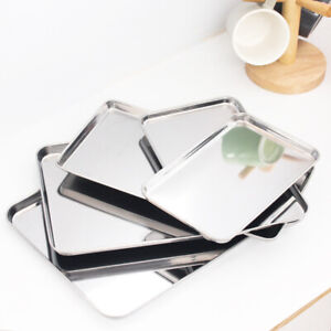 Stainless Steel Shallow Square Plate Food Tray BBQ Plate Container Kitchen Tool