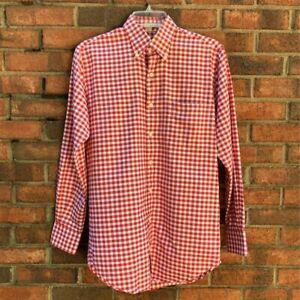 Peter Millar Mens Golf Button Down Shirt Red Gingham Pocket Long Sleeve Cotton S