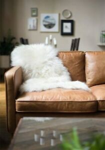 White Sheepskin Rug Ivory 2x3 ft Single Pelt Faux Sheep Fur Genuine Lookalike