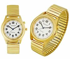 PREMIUM Herren Sprechende Armbanduhr GOLDENE Uhr Blindenuhr Sprachausgabe Datum
