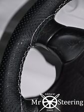 FITS MAZDA BRAVO 98-06 PERFORATED LEATHER STEERING WHEEL COVER WHITE DOUBLE STCH