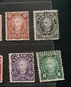 SARAWAK 1895 2c to 8c SG 28 - 31 Sc 28 - 31 Sir Chales Brooke set 4 MH
