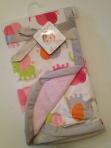 Blankets And & Beyond Baby Girls Pink Grey Elephant Blanket Layette