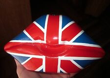 TIMMY WOODS UNION JACK BRITISH FLAG LONDON KISS LIPS SMOOCH MINAUDIERE CLUTCH