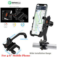 Black Motorcycle Bike Cellphone Mount Holder QC3.0 USB Charger For Phone GPS
