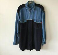 Bugle Boy Denim Shirt Vintage Two Tone Long Sleeve Men's Large L