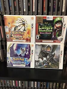 Nintendo 3DS Lot - 4 Games - Pokemon - Monster Hunter - Luigi's Mansion - CIB