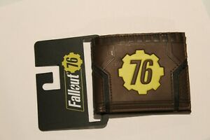 New Bethesda Fallout 76 Vault-Tec Brown Faux Leather Billfold Bifold Wallet