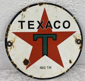 "Round Enamel ""TEXACO"" Door Push Plaque"