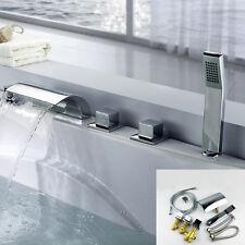 Bathroom Tub Sink Roman Waterfall Faucet w/Handshower Chrome 5 Holes Mixer Tap