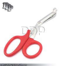 "Utility Scissors EMT/EMS Shears Bandage Paramedic Nurse Supplies 7.25"" Red"