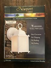 Newport Crest Turner 1-Light White Outdoor Wall Coach Light Sconce
