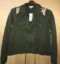 ONE HART Juniors Womens Military Jacket Coat Embellished Beaded Army Green XS