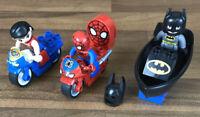 Genuine Lego Duplo Wonder Woman, Spider Man & Batman Figures Bikes & Boat