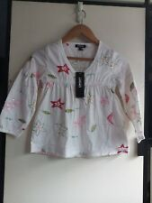 DKNY Girls Kids White Floral Embroidered Sequin Long sleeve Shirt Top Blouse 2