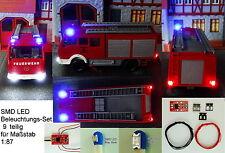 SMD LED Beleuchtungsset 9-teilig Bausatz Anschlußmodul Blinkt Blau Spur H0 C2918