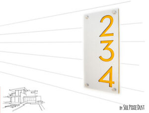Modern House Numbers, Alucobond with Yellow Acrylic - Vertical - Contemporary Ho