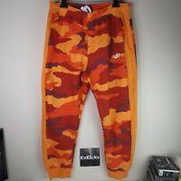 Nike Sportswear Club Fleece Camo Joggers Red Orange Sz  X-Large Mens BV3628-886