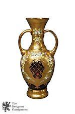 Bohemian Glass Cranberry Ruby Red Vase 24 KT Gold Enamel Czechoslovakia Flower