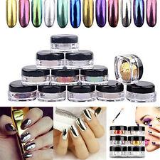 12 couleurs Effet Miroir Métal Ongle Poudre Poussière Chrome Pigment Brillant