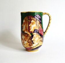 Antique Angelo Minghetti Majolica Pottery Pitcher, Renaissance Faces 1920s As Is