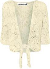 Womens Floral Lace Sequin Bolero Shrug ¾ Sleeve Plus Size Tie Up Cardigan 12-26