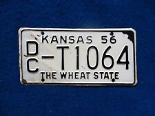 Vintage Original KANSAS 1956 DC T1064 License VEHICLE Tag Man Cave Reissue.