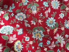 FRENCH VINTAGE COTTON FABRIC - DEEP RED & BLUE - INDIENNE FABRIC - Per Yard
