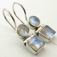 """Round, Square Shape Earrings ! 925 Solid Silver RAINBOW MOONSTONE Earrings 1"""""""