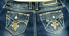 Womens Rock Revival Abree Embellished Distressed Thick Stitch Skinny Jeans Sz 30