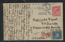 BRAZIL (P1906B) 1928 INCOMING PPC FROM ENGLAND, SHORT PAID TAXED POST DUE 200 R.