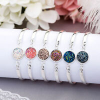 Women Natural Geode Stone Bangles Rhinestone Pave Bracelet Jewelry Gift Solid