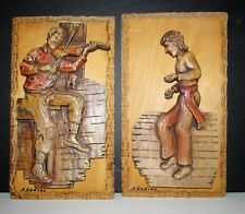 SUPERB PAIR OF HANGING WOOD CARVING SCULPTURE  CANADIAN QUEBEC ARTIST  H.NADEAU