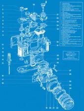 "064 Blueprint -Nikon-F LE Ggernic 1977 Camera Schematics Show 14""x18"" Poster"