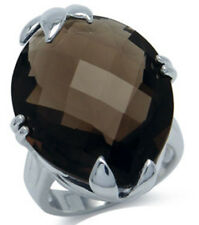 Smoky Quartz Gemstone 30.34 carat Sterling Silver Ring size R