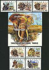 Tanzania 1185-1192, MNH. National Parks. Leon, Elephant, Zebra, Giraffe, 1993