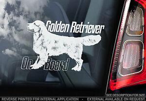 Golden Retriever - Car Window Sticker - Gun Dog on Board Sign Art Gift - TYP4