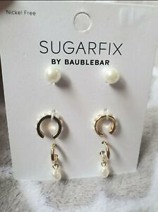 SUGARFIX by BaubleBar Delicate Pearl Earring Set 3 Pairs Gold Tone Nickel Free