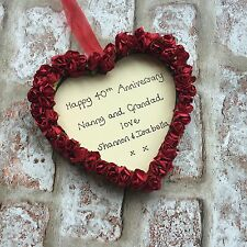 personalised 40th/ruby wedding anniversary wooden heart gift for Grandparents
