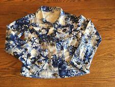 THE CHILDREN'S PLACE youth girl's blue/white flower print denim jacket S 10/12