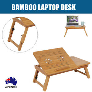 Bamboo Foldable Laptop Bed Cooling Holder Desk Multi Function Table Stand AU