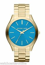 Michael Kors MK3265 Runway Gold Tone Blue Dial Womens Watch