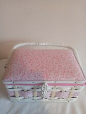 Pink Wooden Wicker Sewing Box