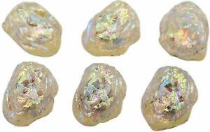 5 Glass Rare Jonquil Lava Rock Kryptonite Stones Schiaparelli AB Cab 8 x 6mm Vtg