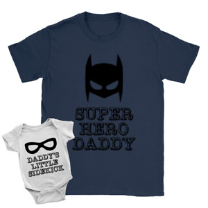 Superhero Daddy + Sidekick Duo Babygrow and T-Shirt New Baby Arrival Father Gift