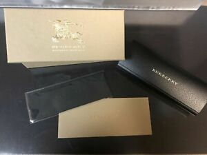 Burberry Hard Case Eyeglasses Case Black Leather & Cleaning Cloth