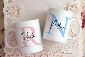 Personalised Mug Initial Gift for Him Her Birthday Housewarming Present Wedding