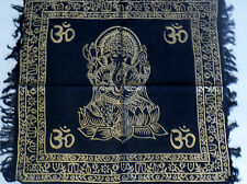 """Altar Cloth/Wiccan/Pagan/Wall Tapestry/Scarve Gold Ganesh 18"""" x 18"""" SCV202"""